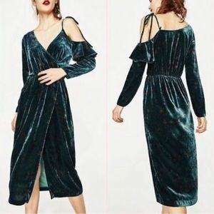NWT Zara Trfl green wrap velvet coldshoulder dress